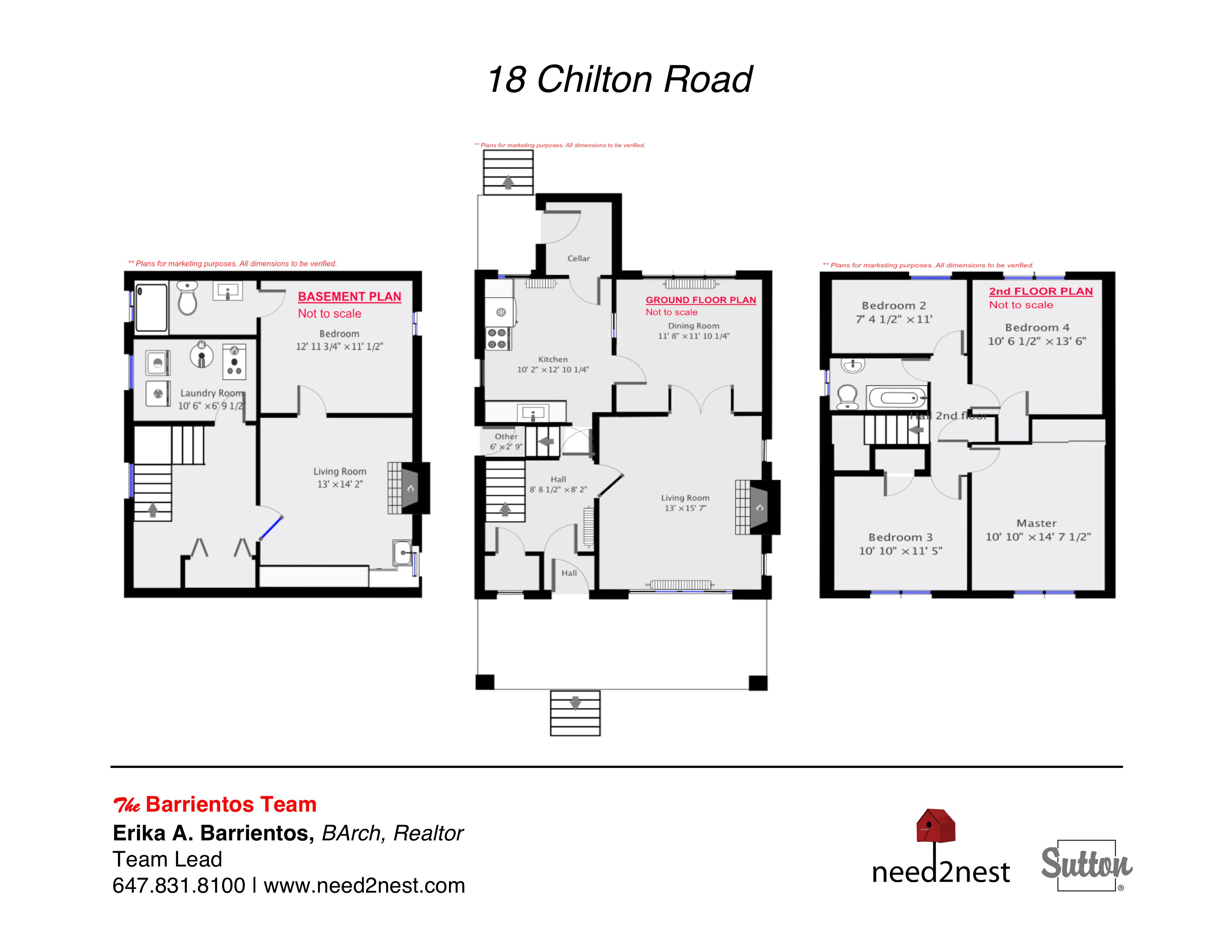 18 Chilton Road: Plans (Basement, Ground, Second)